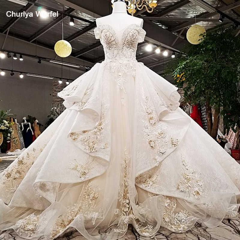 LS78550 2018 платье люксРоскошное свадебное платье с плеча бальное платье зашнуровать назад вышитые бисером кристаллы шампанского свадебные мантии с длинным поездом реальные фотографии