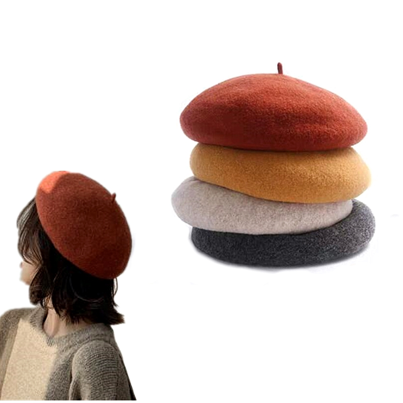 Warm Wool Plain Beret Beanie Hat French Artist Kawaii Flat Top Caps Solid Color Cap Headwear For Women Girls High Quality