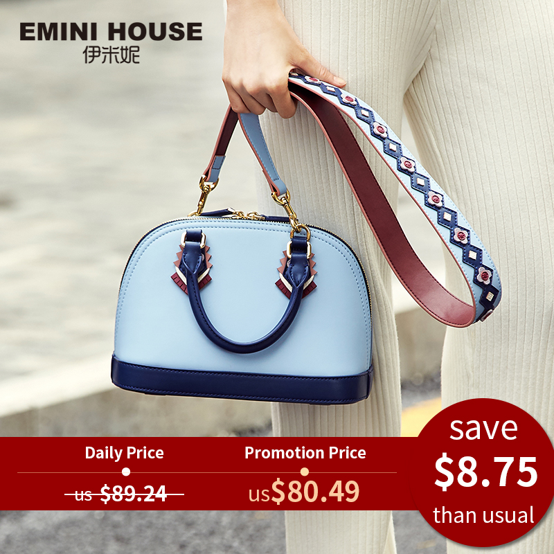 Shell Bag Shoulder-Bag Emini-House Women's Handbags Indian-Style Designer Split Female