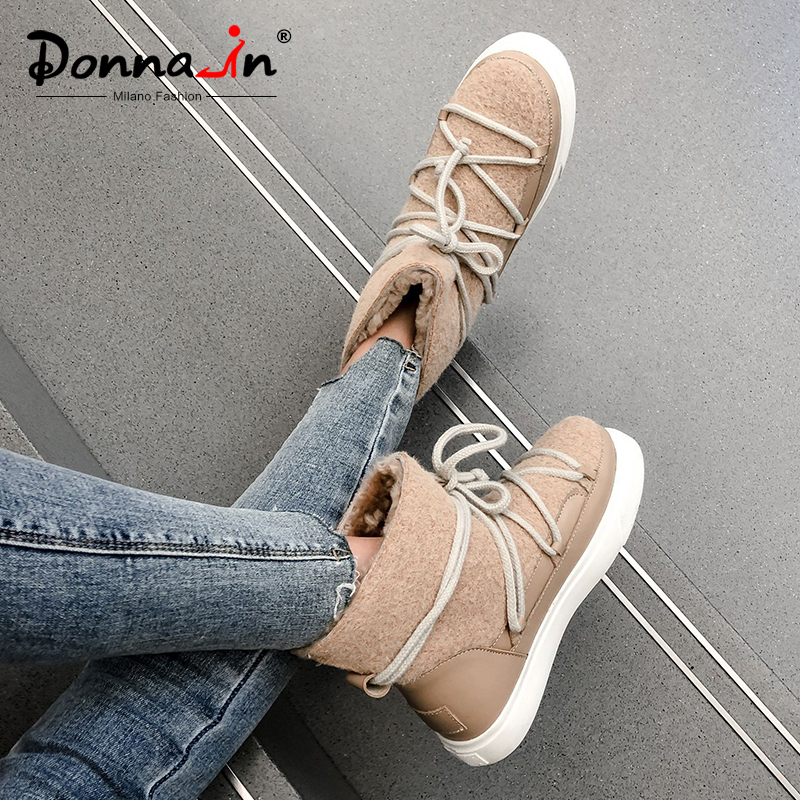 Donna-in Cow Leather Waterproof Women Snow Boots Wool Blend Keep Warm Ankle Boots Low Heels Lace Up New 2020 Winter Flat Shoes