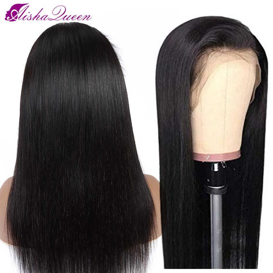 Brezilyalı peruk 13*4 düz dantel ön İnsan saç peruk siyah kadınlar için Remy 13*4 dantel ön peruk ön koparıp Aisha kraliçe saç