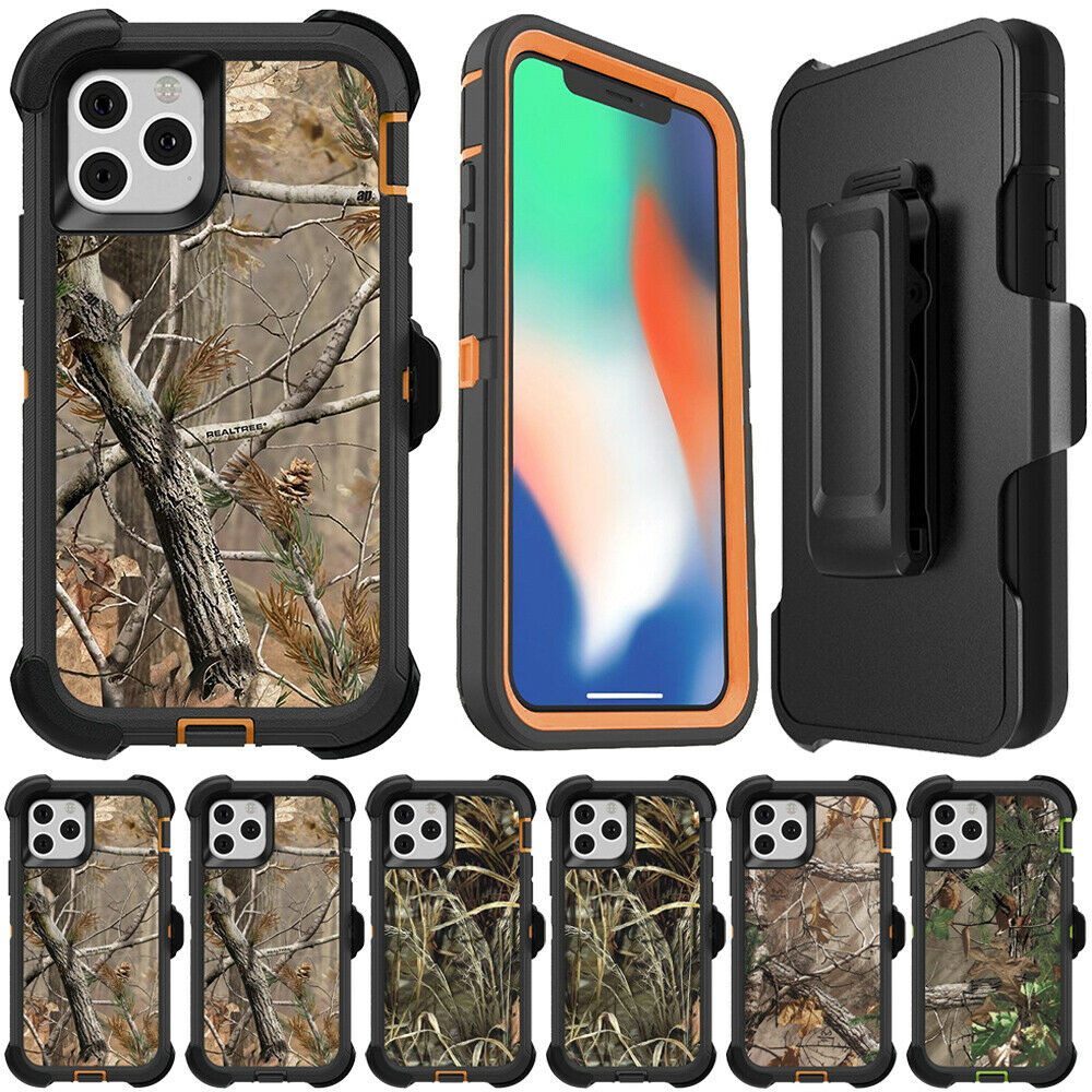 3 In 1 Heavy Duty Protection Case For Iphone 11 Pro Max X XS XR Camo Real Tree Forest Hybrid Armor Phone Cases Cover + Belt Clip (US STOCK)