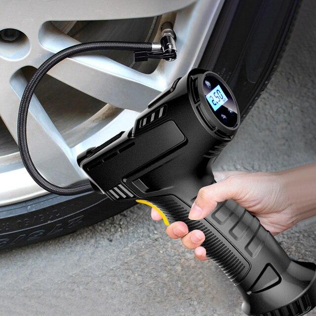 120W Bedrade/Draadloze Auto Luchtpomp Opblaasbare Pomp Draagbare Oplaadbare Luchtcompressor Digitale Auto Auto Tire Inflator Apparatuur