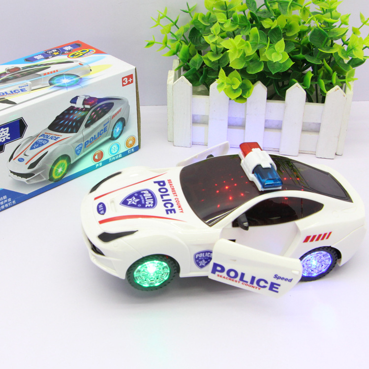 302E Electric 3D Light Model Door Opening Police Car Children Early Childhood Educational Model E-Bike