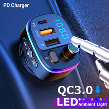 JINSERTA Auto Bluetooth 5,0 FM Transmitter Typ C + QC 3,0 Schnelle Ladegerät mit Autos Atmosphäre Licht In auto Mp3 Player Verlustfreie Musik