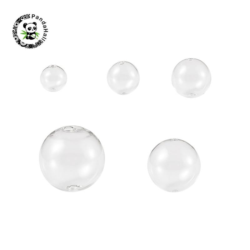 Pandahall 40 pièces/boîte à la main en verre soufflé Globe perles rond clair pour bijoux chauds perles collier à faire soi-même Bracelet faisant 25mm