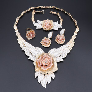 Image 2 - Dubai Gold Color Flower Necklace Earrings Set Fashion Nigerian Wedding African Beads Jewelry Sets Costume Dubai For Women