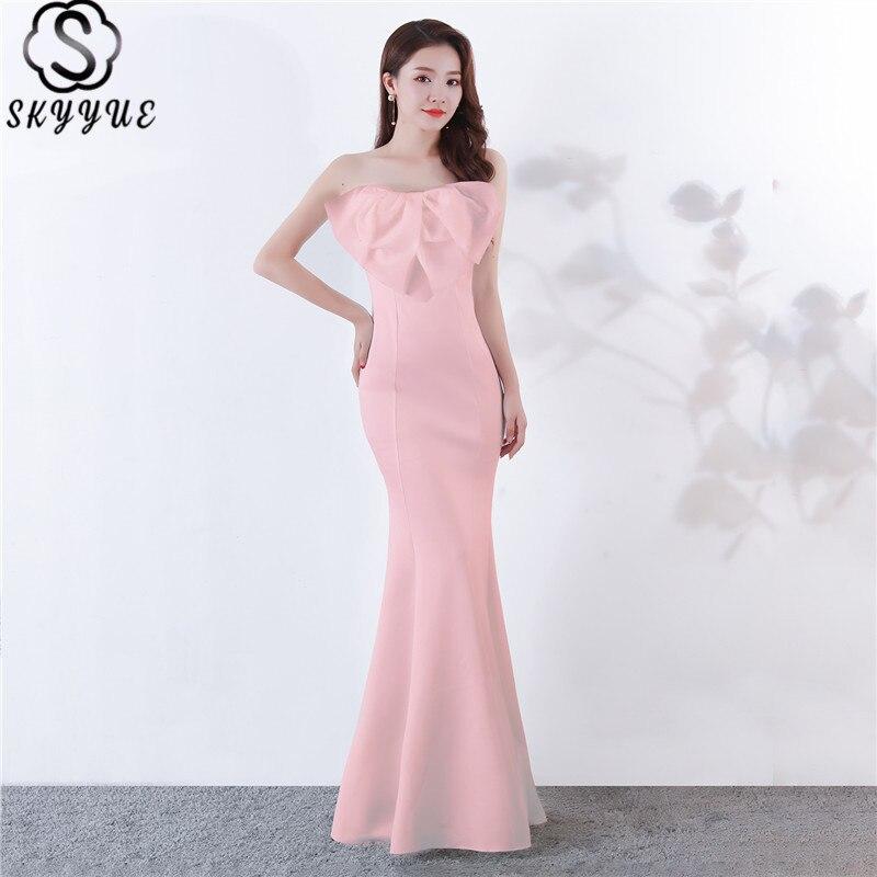 Skyyue rose robes De soirée bretelles sirène Bow robes De soirée longue solide sans manches parole longueur Robe De soirée C141-DS2