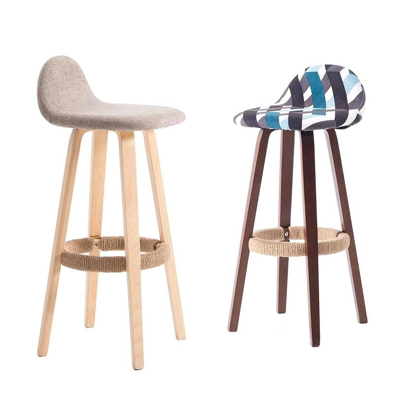 Bar Chair Backrest Wrought Iron Bar Chair Home Bar Stool Modern Minimalist Bar Stool Solid Wood Nordic High Stool