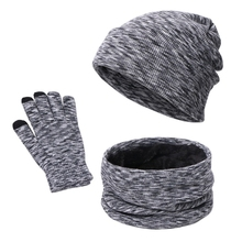 Scarf Hat Gloves-Set Beanie Winter Women Warm 3pieces Skull-Cap Circle Touch-Screen Plush-Lined