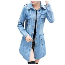 2019 chaquetas de mezclilla mujer agujero novio de manga larga estilo Vintage chaqueta de mezclilla suelta primavera otoño chaqueta de mezclilla Vest femme # C