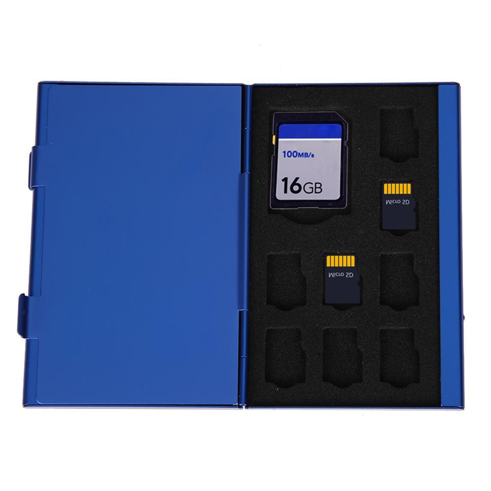 Protable Aluminum Memory Cards Storage Box Holder 8TF + 4SD 16 Slots Memory Card Case Box Protector Large Capacity