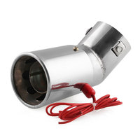 30 60mm Universal Straight/Round Car Red LED Light Tail Exhaust Pipe Stainless Steel Flaming Muffler Tip Car Accessories