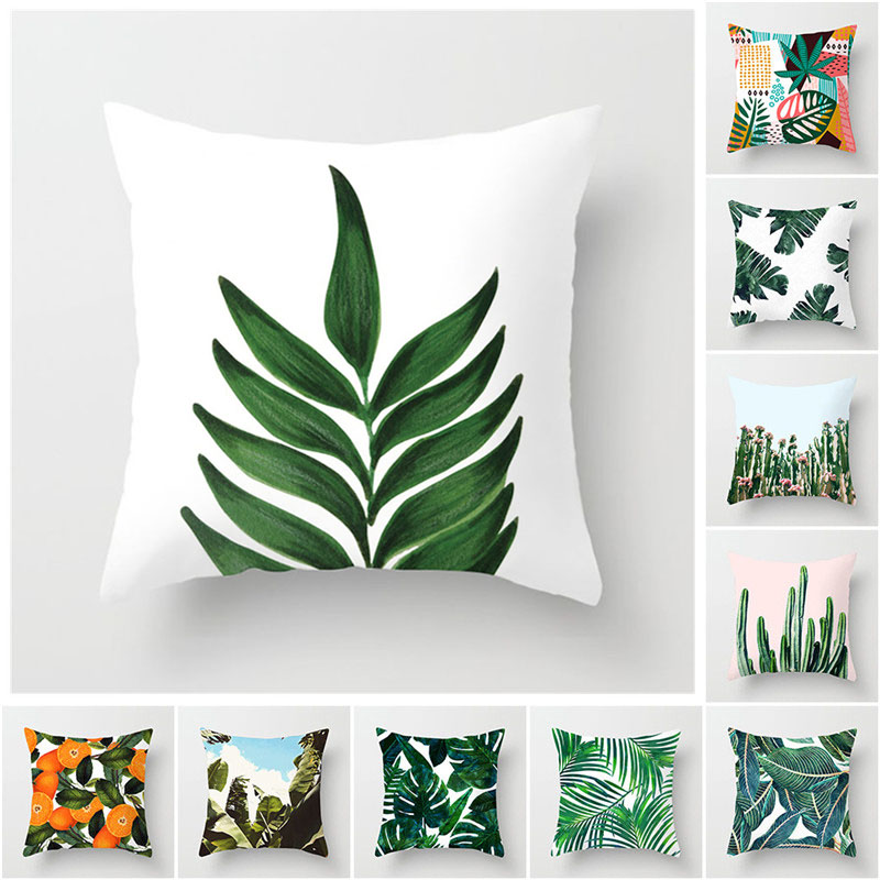 Fuwatacchi Cactus Leave Cushion Cover Plant Decoration Print Polyester Pillowscase Sofa Home Decorative Pillows 45*45cm