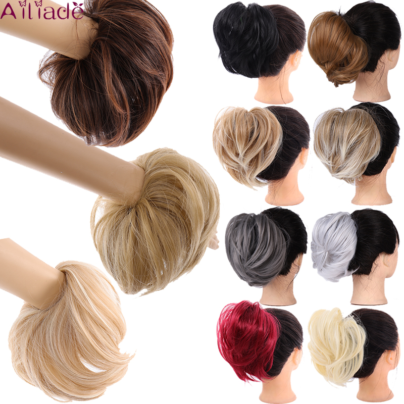 AILIADE Messy Synthetic Straight Chignons Hair Extensions Hair Piece Wrap Ponytail Hair Tail Updo Fake Hair Bun Hairpiece