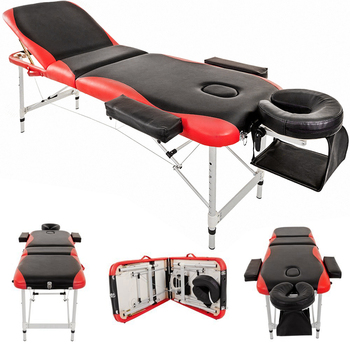 Folding Massage Table Lightweight Couch Bed Professional Beauty Tattoo Salon Spa 3 Section with 5cm Foam Headrest Arm Support