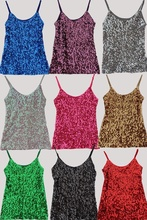 Women Sequins Strap Vest Glitter Camisole Shiny Sleeveless Shirts Tops Dance Tank 914-631