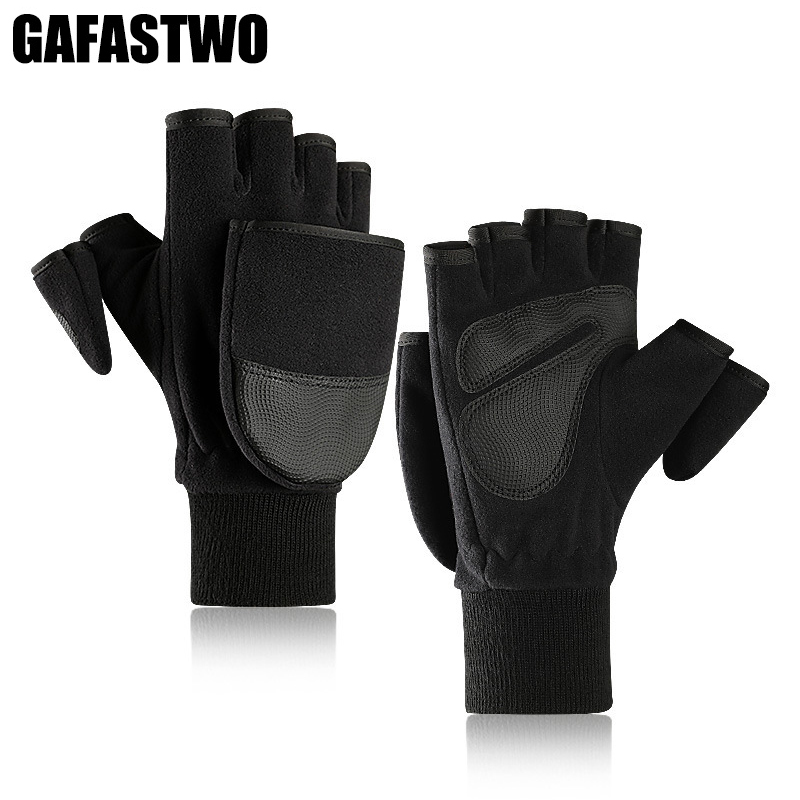 New Winter Thickening Fleece Warm Men Gloves Touch Screen Flip And Velvet Velvet Outdoor Photography Gloves