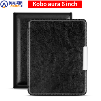 цена Leather Case for KOBO AURA 6 Inch Cover for KOBO 6inch N514 Slim Funda Magnetic Auto Sleep Capa онлайн в 2017 году