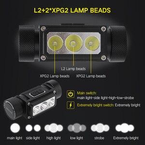 Image 3 - BORUiT B39 XM L2 + 2 * XP G2 LED Scheinwerfer Max.5000LM Wasserdichte Leistungsstarke Scheinwerfer TYPE C Wiederaufladbare 21700 Kopf Taschenlampe für Camping