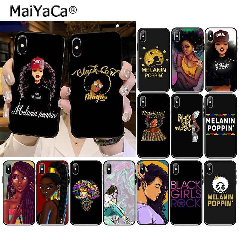 Afro Black Girl Magic Queen Melanine Poppin Telefoon Case Voor Iphone 11 Pro Xs Max Xs Xr 8 7 6 plus 5 5S SE12 Mini 12PRO Max