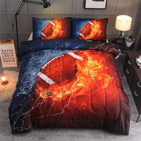 American Football Rugby Comforter Set Full Bedspread With Pillow Case Quilted Blanket Sport Bedding Sets