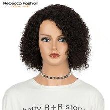 Ребекка + ВОЛОСЫ + короткие + кудрявые + боб + парики + для + женщин + курчавые + кудрявые + парик + боб + парик + бразильский + Реми + полный + машинный + кудрявый + человеческий + волосы + парики + натуральный