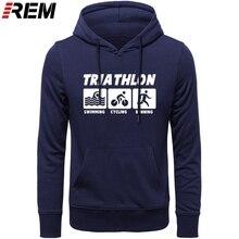REM yeni erkekler Casual Hoodies triatlon en iyi pamuk o boyun uzun kollu Streetwear erkek spor Hoodies, tişörtü