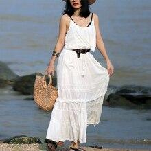 TEELYNN فستان ماكسي من القطن 2 قطعة مجموعة الأبيض معلقة روك الدانتيل فساتين بلا أكمام العلامة التجارية النساء فساتين الشاطئ ارتداء الغجر Vestidos