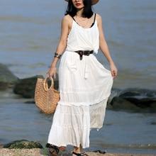 Teelynn maxi algodão vestido 2 peça conjunto branco pendurado rock vestidos de renda sem mangas marca vestidos femininos beach wear cigano