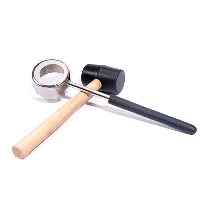 2Pcs/Grade Practical Lightweight Coconut Opener Tool Set Stainless Steel Opener With Wooden Mallet