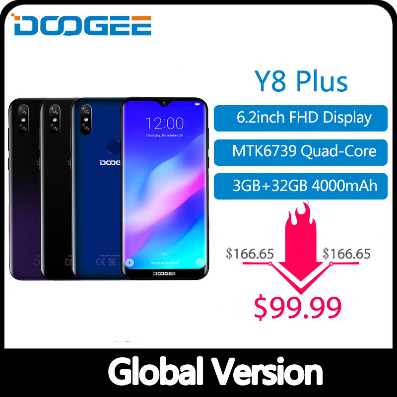 DOOGEE Y8 Plus MTK6761 3GB RAM 32GB ROM 4000mAh Android 9.0 FDD LTE 6.21inch 19:9 Waterdrop Screen Smartphone Dual SIM 13.0MP