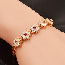 Moda feminina zircônia cúbica cz pequeno bonito flores charme pulseira jóias