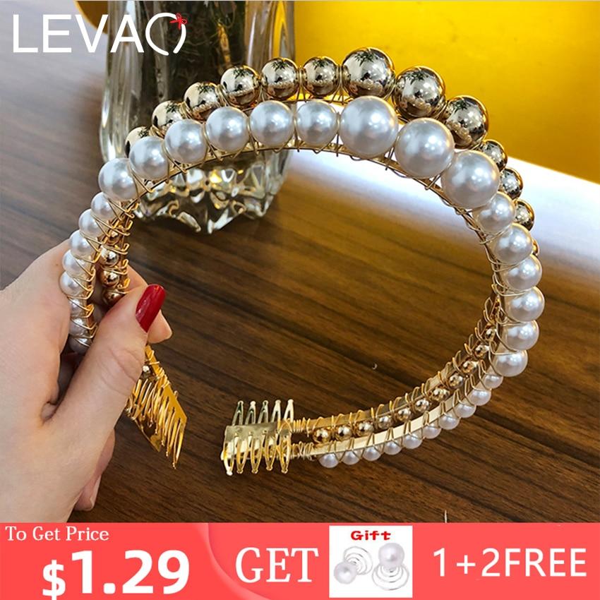 Levao 3cm Big Pearls Headband Women Wedding Bridal Hair Accessories Hairband Hair Hoop Girls   Headwear   Wedding Pearl Jewelry