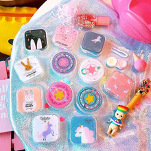 Popular Mini Square Contact Lens Case Box Cute Cartoon Girl Heart  Soft Younger Sister Glasses Easy Carry Mirror Co