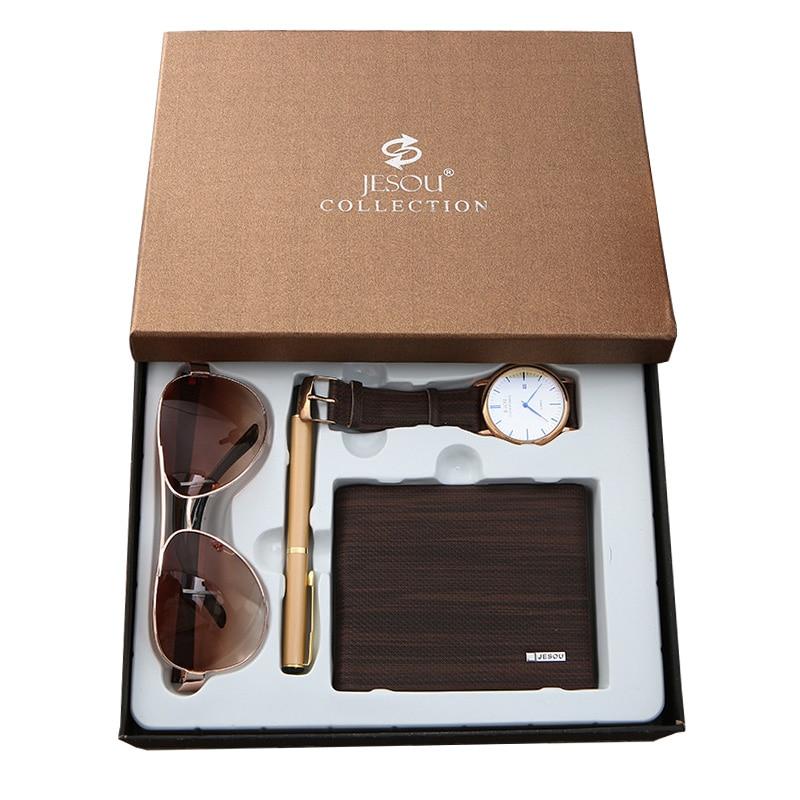 Одежда высшего качества класса люкс минималистические кварцевые наручные часы бумажник солнечные очки Ручка часы подарочный набор для
