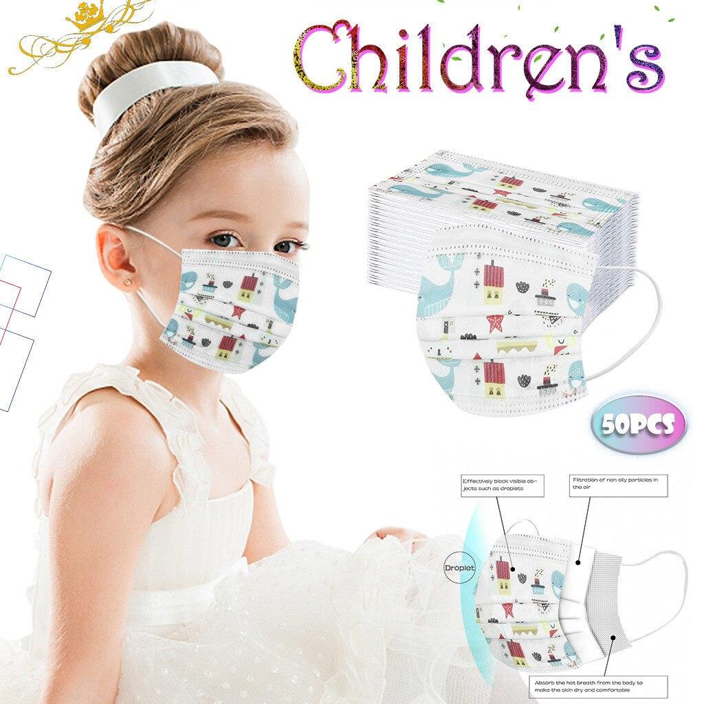 50pcs Children's Mask Cartoon Dinosaur Print Disposable Face Mask Industrial 3Ply Ear Loop Cute masque mascarillas niño In Stock