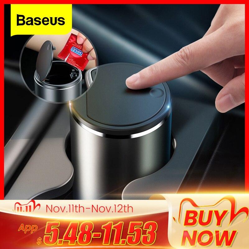 Baseus Car Trash Bin Alloy Garbage Can For Car Dustbin Waste Rubbish Basket Bin Organizer Storage Holder Bag Auto Accessories