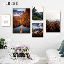 Estilo nórdico poster montanha floresta quadros em tela rio imagem para sala de estar estrada arte da parede pintura não emoldurado postres decoração