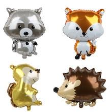1pcs Big Jungle Fox Raccoon Balloon Animal Cartoon Balloons Birthday Safari Party Decoration Kids Toys