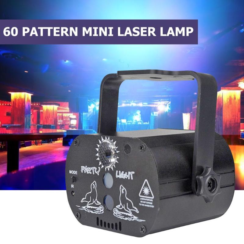 60 Pattern LED Stage Lighting Effect Disco Stage Light Laser Projector Lamp Rechargeable Wedding Birthday Event Party DJ Lights