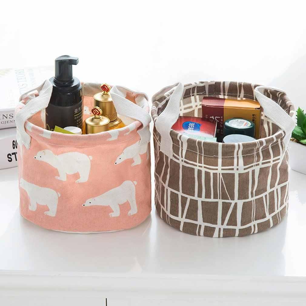 Frische baumwolle und leinen schutt lagerung körbe desktop einfache lagerung box tragbare tuch lagerung korb finishing