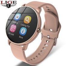 LIGE Neue Full Touch Screen Smart Watch Männer Herz Rate Blutdruck Anruf Erinnerung Funktion Sport Smartwatch Für Android IOS + Box