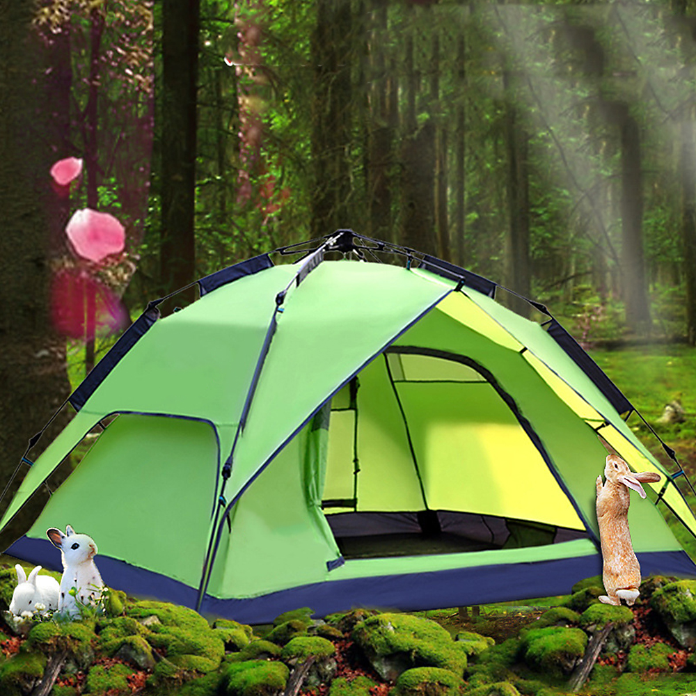 Automatic Tent Camping Outdoor Family Beach Tent 3-4 People Double Layer Waterproof Outer Sun Shelter Portable Handbag Tent image