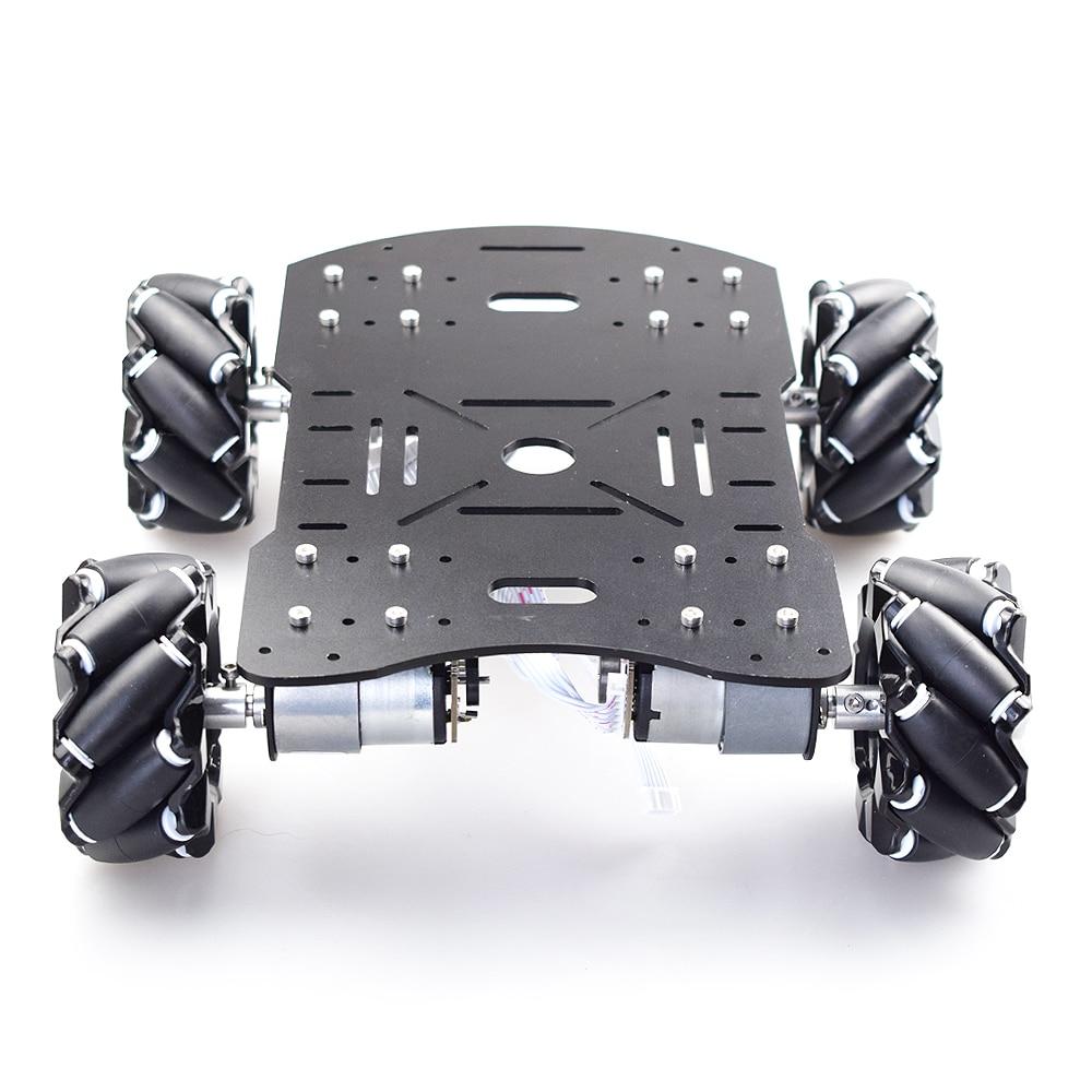 10KG Load Metal Omni Mecanum Wheel Robot Car Chassis Kit With 4pcs Encoder Motor For Arduino Raspberry Pi DIY STEM Toy Parts