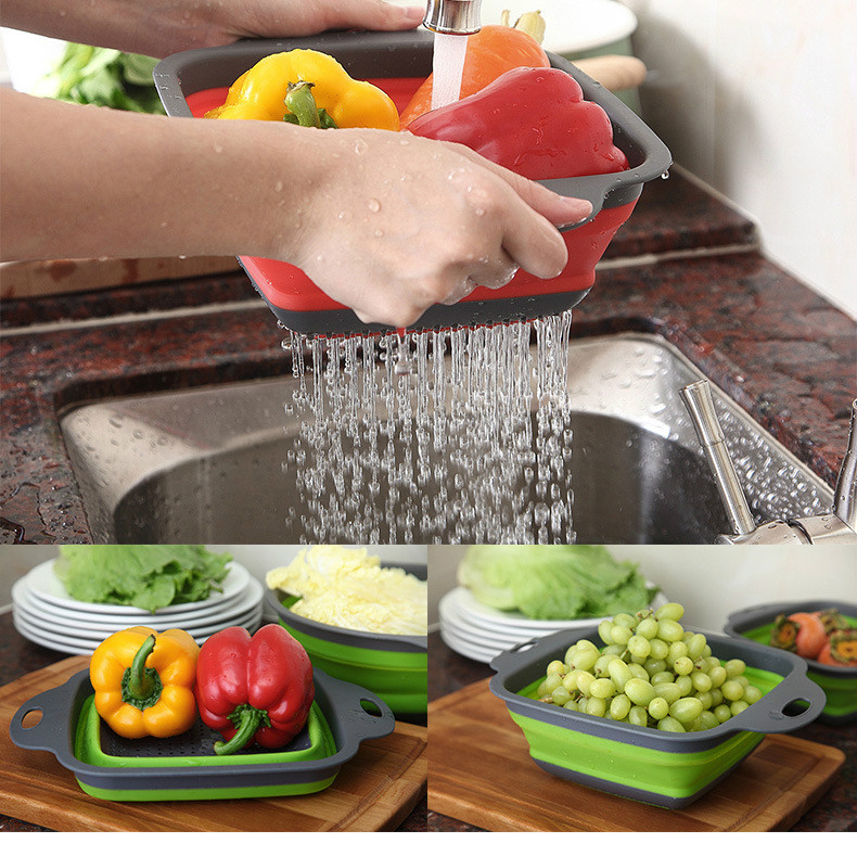 Foldable Fruit Vegetable Washing Basket Strainer Portable Silicone Colander Collapsible Drainer With Handle Kitchen Tools 2020