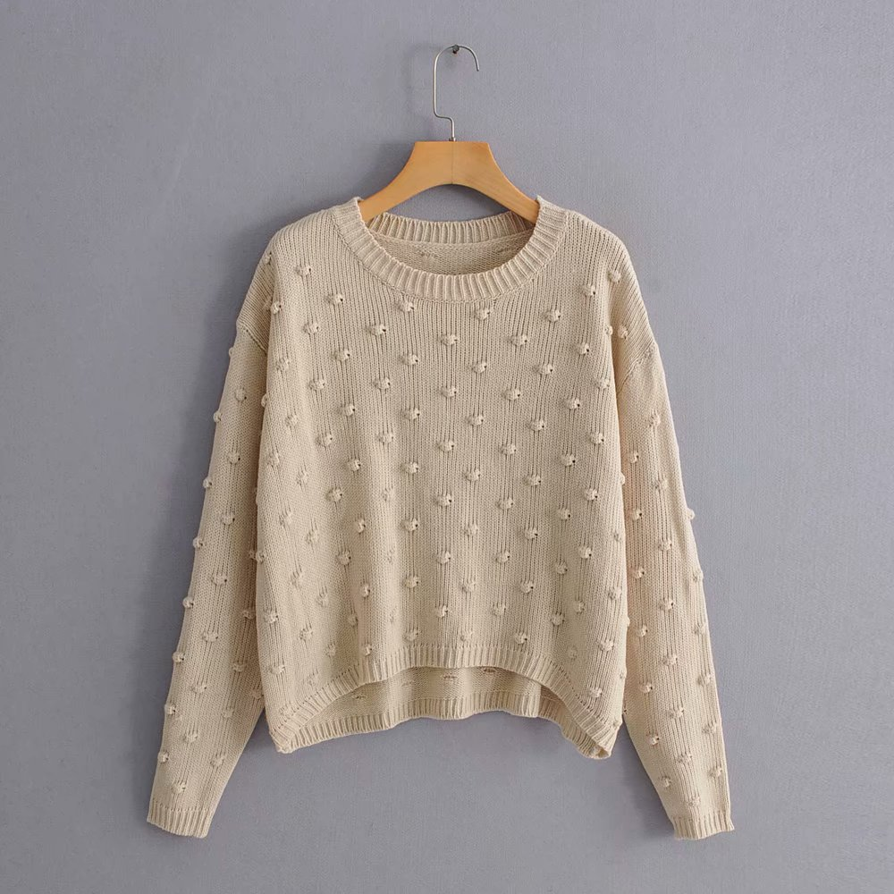 2019 Women Fashion Ball Decoration Basic Knitting Sweater Autumn Solid Color Casual Pullovers Chic Long Sleeve Leisure Tops S087