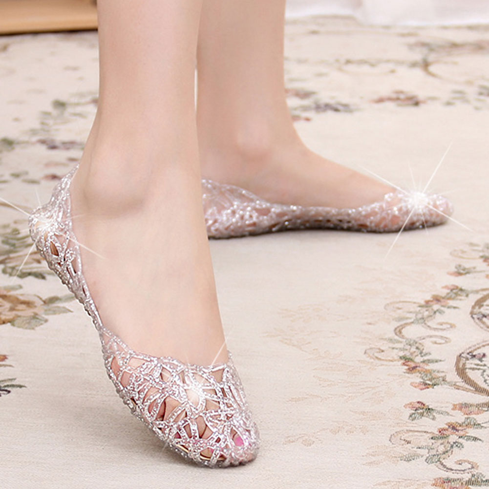 1 Pair Women Hollow Glitter Sandals Jelly Flat Shoes Breathable For Summer Beach Party ENA88