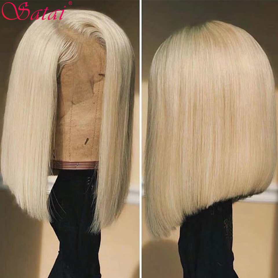 Satai Bob Wig 613 Blonde 13x4 Lace Front Human Hair Wigs  Peruvian Remy Bob Wig Human Hair Pre Plucked Hairline With Baby Hair