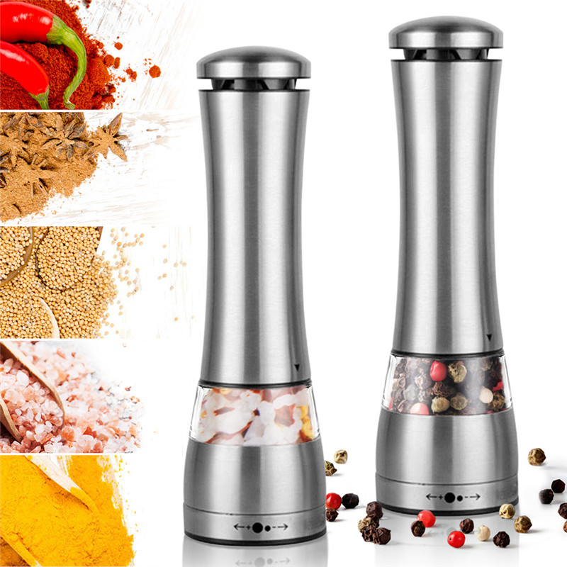 1/2Pc Electric Automatic Mill Pepper and Salt Grinder LED Light Peper Spice Grain Mills Porcelain Grinding Core Mill for Kitchen